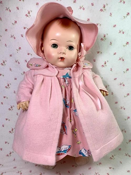 """REAL 1940's Effanbee 15"""" Dy-Dee Jane Vintage Coat Bonnet Set"""