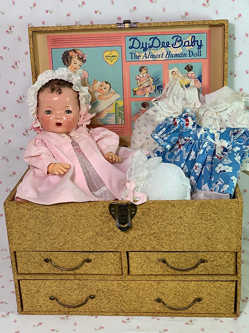 """Blue-Eyed 1930s Mold 1 Effanbee 13"""" Dy-Dee KIN Doll with EVERYTHING"""