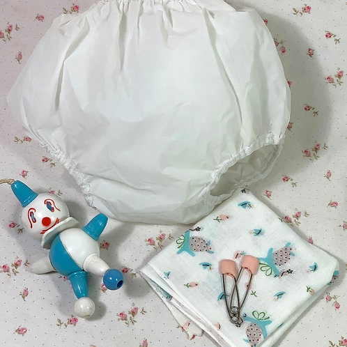 "Vintage Layette RUBBER PANTS and CHIX Print Diaper Dy-Dee Tiny Tears 18"" to 20"""