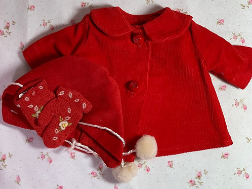 "Vintage RED Corduroy Coat and Bonnet Set for 11""-12"" Doll"