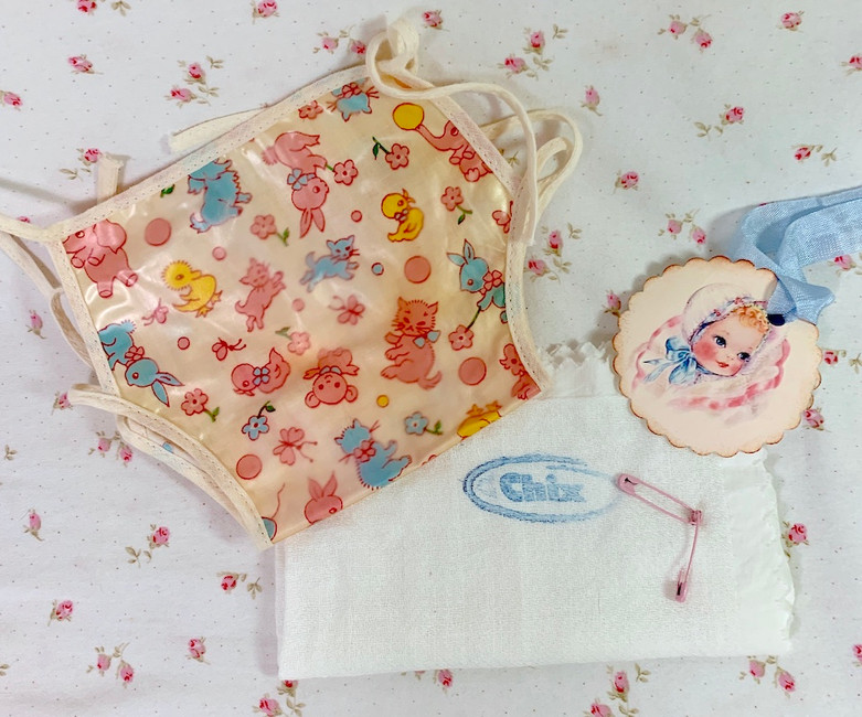 """Vintage 1950s Print Diaper Cover and CHIX diaper for 13z' to 14"""" Baby Doll"""