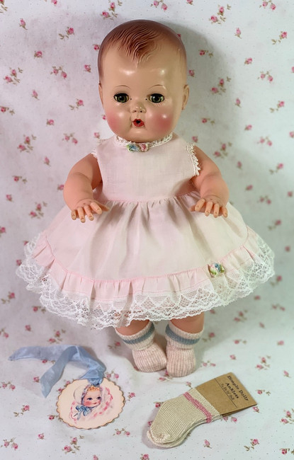 "Vintage Pink Cotton Party Dress for 13"" to 14""Baby Dolls"