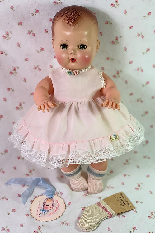 """Vintage Pink Cotton Party Dress for 13"""" to 14""""Baby Dolls"""