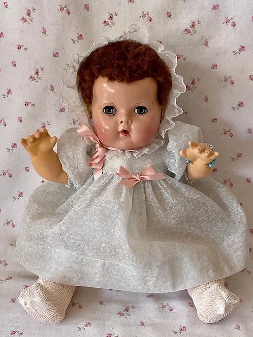 "1940s Effanbee 15"" Dy-Dee Jane Baby Doll with RARE DARK BROWN Curls"