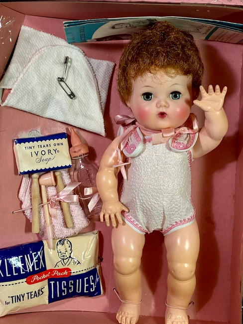 """1950s American Character 11"""" Tiny Tears Baby Doll in Case"""