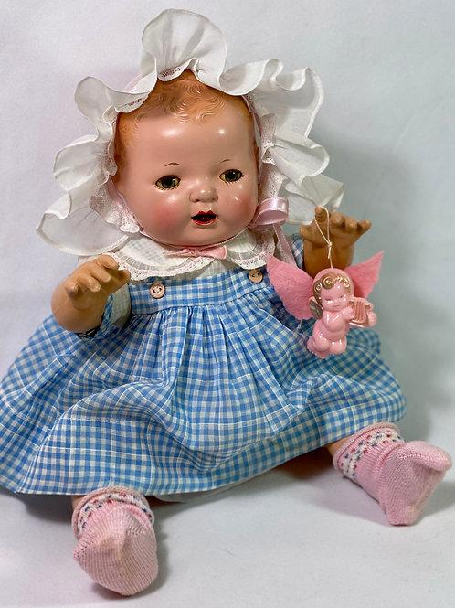 """Original Effanbee 15"""" Dy-Dee Dress Set -- Blue Gingham and Ruffled Bonnet"""