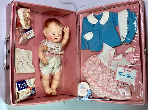 "MINT 13"" TINY TEARS doll 1950's w/ Original Layette in Case"