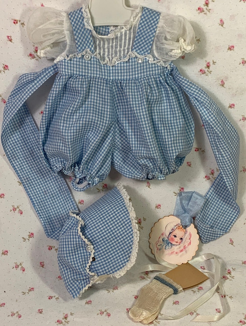 "Vintage 1950's Blue PARTY Gingham Sunsuit Set for 13.5"" Tiny Tears"