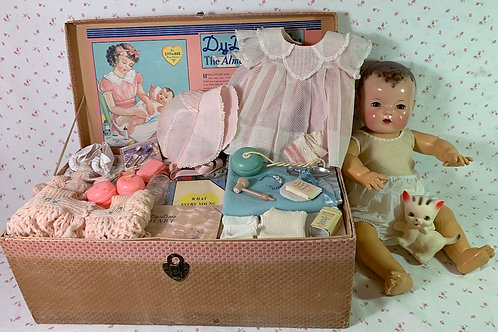 "Gorgeous 1930s Effanbee 20"" Dy-Dee Lou Mold 1 Baby Doll in Box"