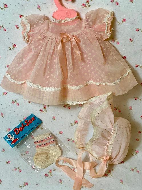 "1950's Vintage 11"" Tiny Tears Baby Organdy Party Dress Set"