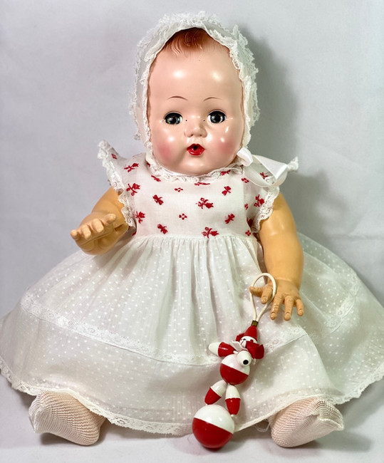 """American Character 18"""" Vintage 1950s Tiny Tears Baby Doll Dotted Swiss Dress Set"""