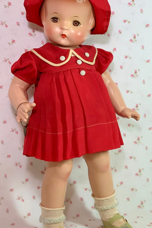 RARE 1930s Tagged Effanbee Patsy Ann RED SILK Dress Set