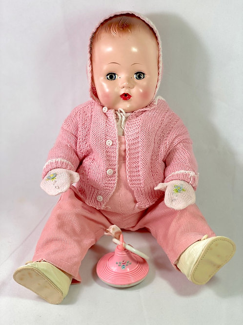 "18"" Vintage 1950s Tiny Tears Baby Doll Overalls and Sweater Sewt"
