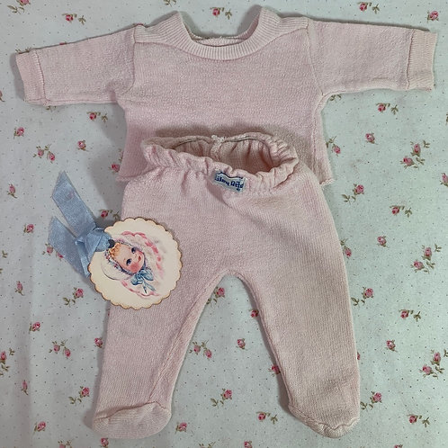 """Vintage Pink Nitey Nite Footed Pajamas for 11"""" to 14"""" Tiny Tears Doll"""
