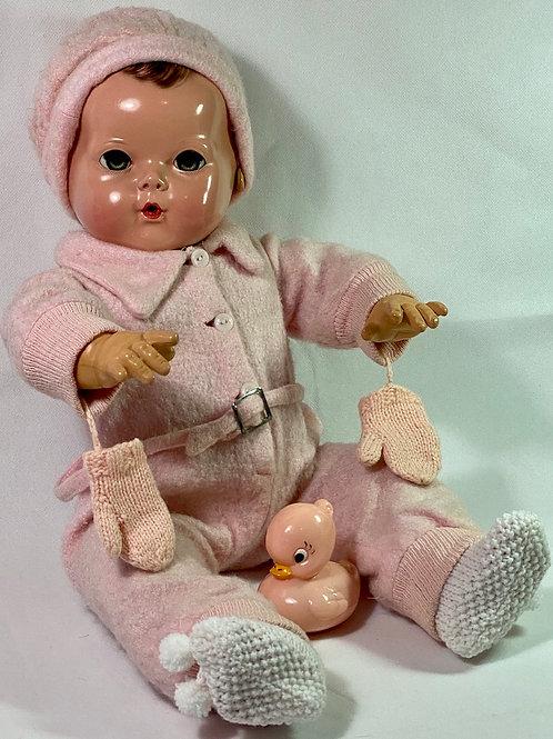 "Vintage 1940s Original Effanbee 20"" Dy-Dee Lou Pink Snowsuit"