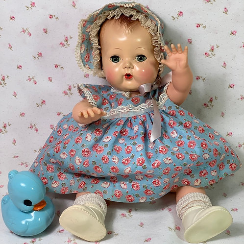 """Vintage 1940s 13"""" to 14"""" Blue Flowers Baby Doll Dress Set -- MINT"""