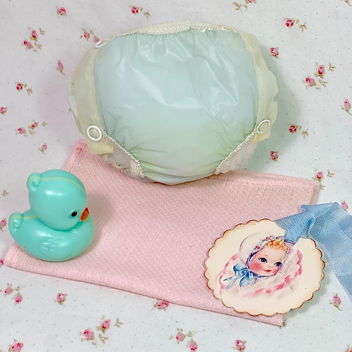 """Vintage 1950's Blue RUBBER PANTS and Pink Diaper Dy-Dee Tiny Tears 11"""" to 14"""""""