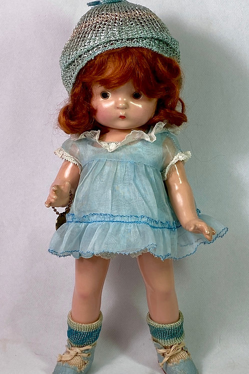 "1930s Effanbee 11"" Patsy Jr RED HEAD Composition Doll All Original"