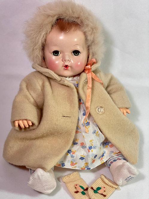 "1930s Vintage 15"" Effanbee Dy-Dee Camel Hair Coat Set"