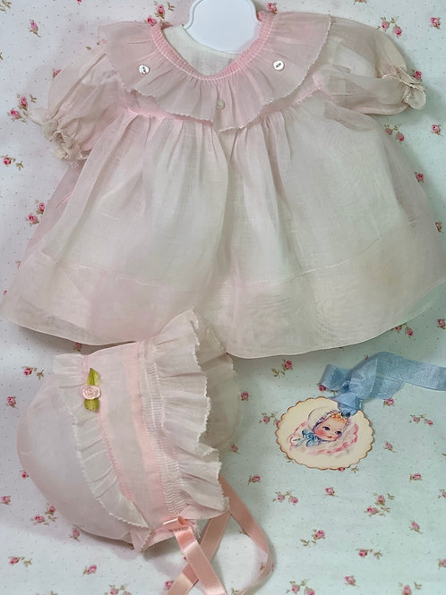 1930's Original Effanbee Dy-Dee Pink Organdy Dress Set