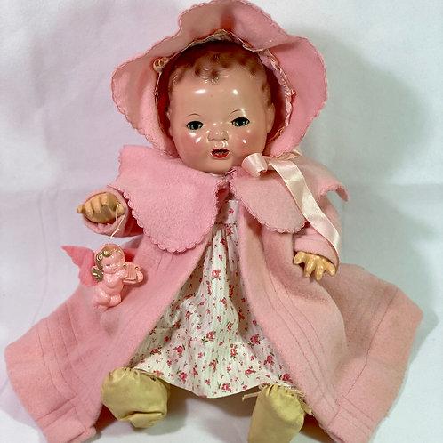 "1930s Vintage 15"" Effanbee Dy-Dee Pink EIDERDOWN Coat Set #2"