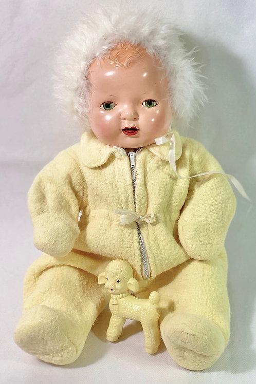 "Vintage 1940s Original Effanbee 15"" Dy-Dee Yellow Snowsuit"