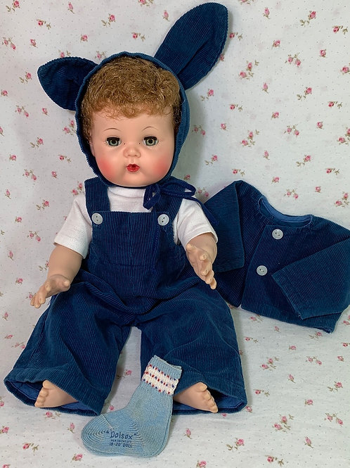 """1950's Vintage Corduroy BUNNY Suit for 15"""" to 16"""" Dolls"""
