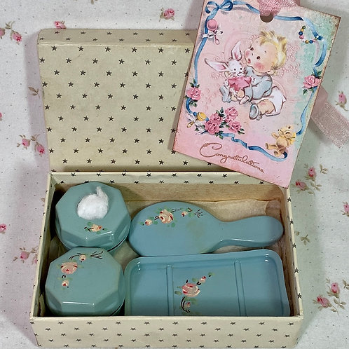 RARE BLUE Vintage 1940s Effanbee Dy-Dee Doll Celluloid Vanity Set with Flower