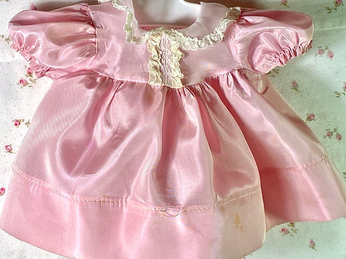 "Vintage Original Effanbee Pink Silk Taffeta Factory 15"" Dy-Dee Jane Dress"