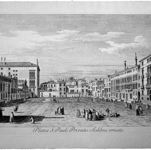 VISENTINI, Antonio (Venezia 1688-1782), Platea S. Pauli Privatis Aedibus ornata., Urbis Venetiarum Prospectus Celebriores, ex Antonii Canal Tabulis XXXVIII ..., IV/4, <1735, Acquaforte, (in cornice), lastra mm 274x430, IV in basso a dx, Biblio: Succi 2013, p. 211
