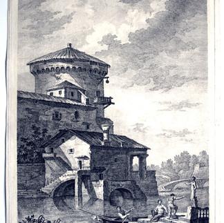 BERARDI, Fabio (Siena 1728-Venezia 1788), Paesaggio architettonico con statua e figure., Rovine architettoniche romane, Acquaforte, foglio mm 276x383, lastra mm 262x368, A. Ioli pinx., Berardi Scul. appo. Wagner Ven.a C.P.E.S., 47 N°. 3 in basso a dx, Biblio: Moschini p. 117
