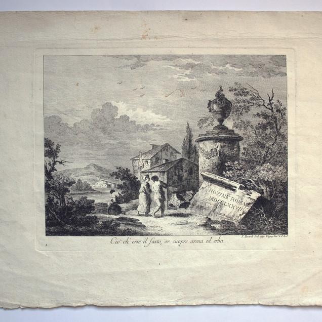 BERARDI, Fabio (Siena 1728-Venezia 1788), Ciò ch'erse il fasto, or cuopre arena ed erba., Rovine Romane, Unico, < 1777, Acquaforte, fogliio mm 434x315, lastra mm 280x217, lettere V C sormontate da un lungo fregio, F. Berardi Scul. appo Wagner Ven.a C.P.E.S, 1 in basso a sx, Biblio: Moschini p. 117