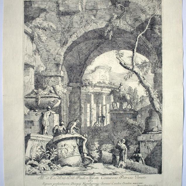 RICCI, Marco (Belluno 1676-Venezia 1730), Capriccio con rovine e tempio rotondo., Varia Marci Ricci Experimenta ..., I/2, <1730, Acquaforte, foglio mm 522x403, lastra mm 424x315, WM: Tre mezze lune in alto al centro e balestra in basso al centro, Ill.mo et Ex.mo Dno Dno Paulo Abbatti Contareno Patricio in Signum profundissimi Obsequij Humilissimus Servus Carolus Orsolini MDCCXXX D.D.D., nell'inciso in basso a sx: MR f, in basso a dx: Marcus Ricci Inv. et fec. Biblio: Succi 2013 p. 159