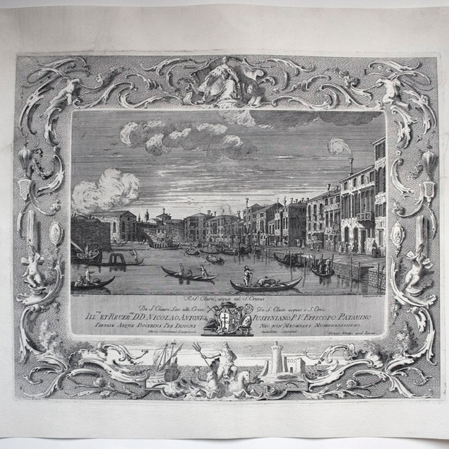 GIAMPICCOLI, Marco Sebastiano (Venezia 1737-1809), A.S Clara, usque ad S. Crucis., Quarantatre vedute di Venezia, Unico, 1775-1782, Acquaforte, foglio mm 444x535, lastra mm 360x440 AC. C. Clara, usque ad S. Crucis. /Da S. Chiara Sino alla Croce / De S. Clara usque á S. Crois / Ill.mo et Reuer.mo D.D. Nicolao Antonio Iustiniano P.V Episcopo Patauino / ..., Canaletto del., Giampiccoli inc. Alpago-Novello 1940 pp. 501-523 (per la cornice p. 510), Biblio: Succi 2013 p. 934