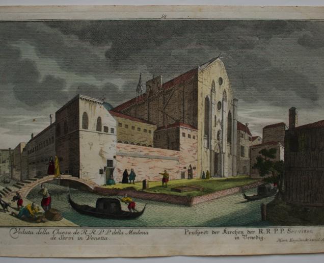 ENGELBRECHT, Martin (Augsburg 1684-1756), Veduta della Chiesa de R.R.P.P. della Madona de Srevi in Venetia. Prospect der Kirchen de R.R.P.P. Servitten in Venedig. Acquaforte acquarellata, foglio mm 213x325, lastra mm 198x310 Mart. Engelbrecht excud. A.V., 17.9 (in alto a sx), 59 (in alto al centro), 3 (in alto a dx),