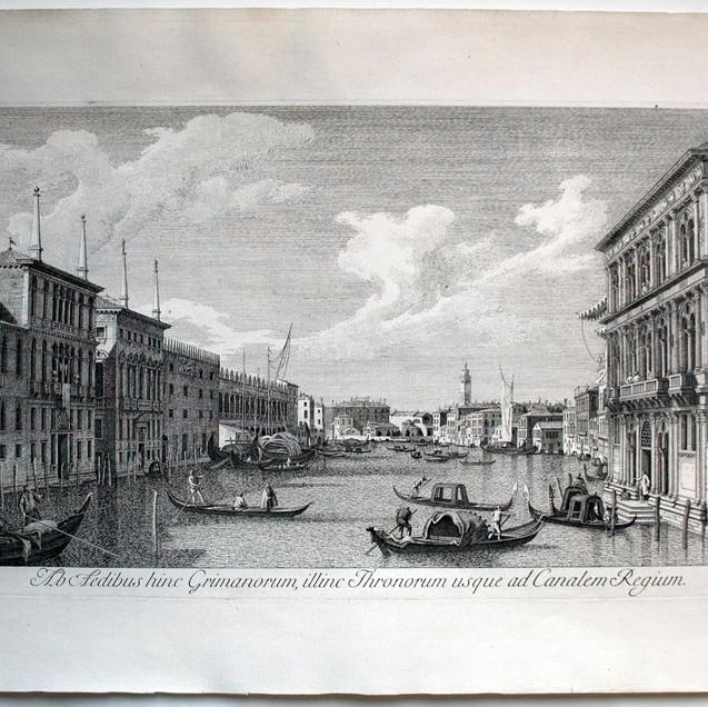 VISENTINI, Antonio (Venezia 1688-1782), Ab Aedibus hinc Grimanorum, illinc Thronorum usque ad Canalem Regium., Urbis Venetiarum Prospectus Celebriores, ex Antonii Canal Tabulis XXXVIII ..., II/V, 1729, Acquaforte, foglio mm 375x537, lastra mm 274x430, IX in basso a dx, Biblio: Succi 2013 p. 194