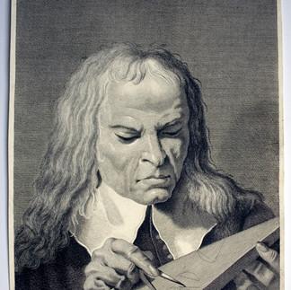 CAVALLI, Nicolò (Longarone 1730-Venezia 1822), Ritratto di matematico (?) unico, > 1743, Acquaforte, foglio mm 256x313, lastra 256x313, lettere F V sormontate da tre stelle a sei punte Gio: Battā Piazzetta del., Nicolus Cavalli scu.