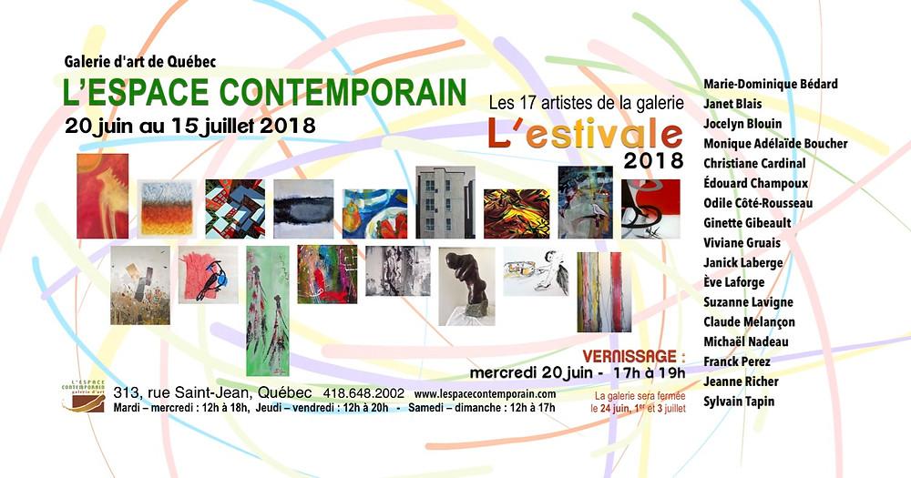 la Galerie d'art L'espace contemporain de Québec présente l'exposition collective dont je fais partie!  À ne pas manquer du 20 juin au 15 juillet prochain!