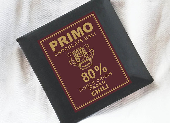 PRIMO 80% Chocolate Bar 25gr (Balinese Chilli)