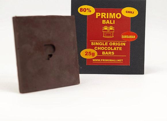 PRIMO Balinese Chili 80% Dark Chocolate Bar (25gr)