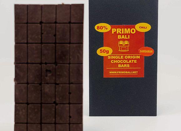 PRIMO Balinese Chili 80% Dark Chocolate Bar (50gr)