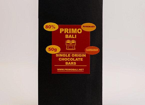 PRIMO Rosemary 80% Dark Chocolate Bar (50gr)