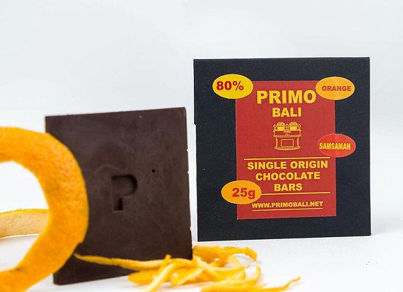 PRIMO Orange 80% Dark Chocolate Bar (25gr)