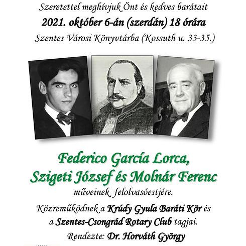 Felolvasóest - Federico Garcia Lorca, Szigeti József és Molnár Ferenc műveiből