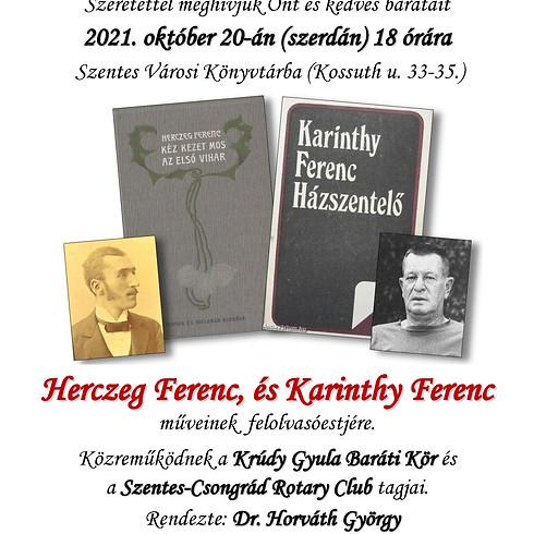 Felolvasóest - Herczeg Ferenc és Karinthy Ferenc műveiből