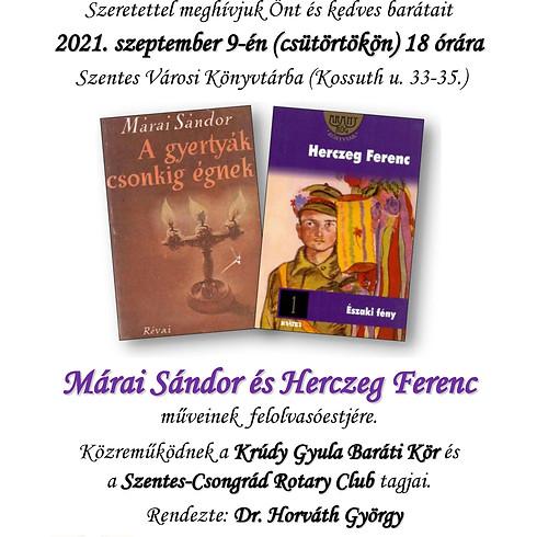 Felolvasóest - Márai Sándor és Herczeg Ferenc műveiből.