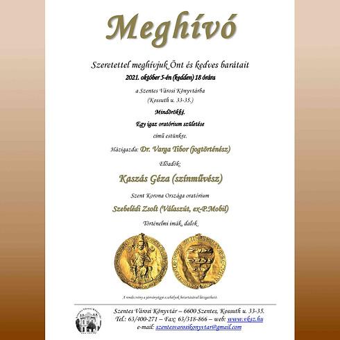 Egy igazi oratórium születése - Kaszás Géza, Varga Tibor