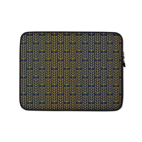 Laptop Sleeve - Leaf Navy Pattern