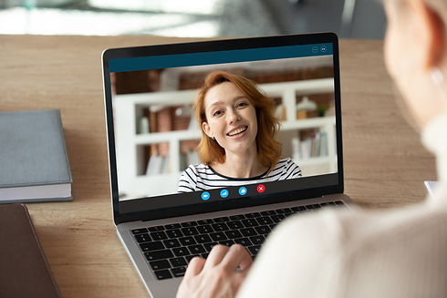 Computer screen close up view smiling at