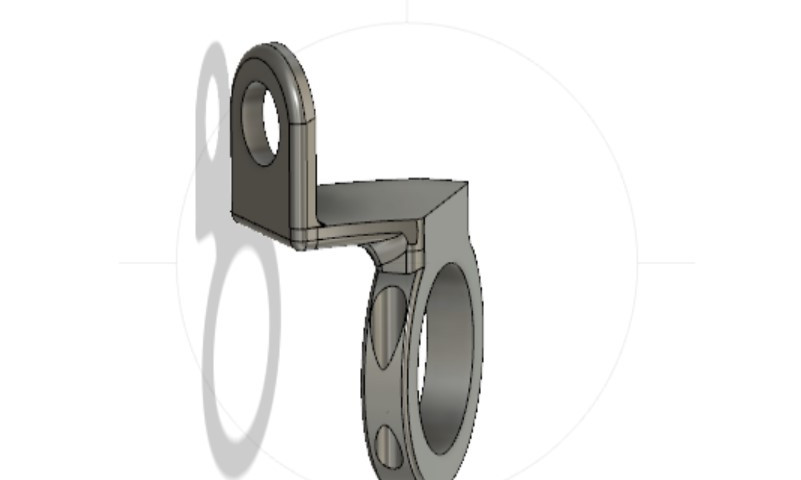 CAD drawn fire suppresion nozzle-  rollcage clamp - directed to area of need